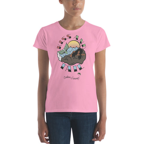 Image of Kiss And Tail Black Mermaid Summer Tee Shirt  - Diversity In Design Series 1 of 4 - Women's short sleeve t-shirt CharityPink / S - think-endless-summer-inc