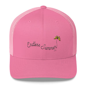 Endless Summer Inc. Ultimate Summer Brand Trucker Cap Limited Edition - So Fresh Yellow Tree Clean White and Pink Distressed Embroidery