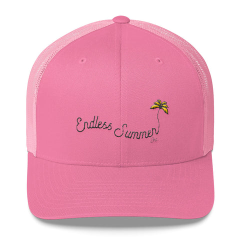 Endless Summer Inc. Ultimate Summer Brand Trucker Cap Limited Edition - So Fresh Yellow Tree Clean White and Pink Distressed Embroidery Pink - think-endless-summer-inc