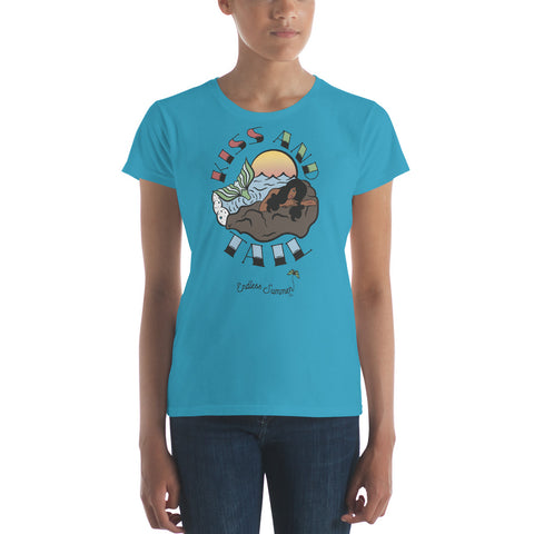 Kiss And Tail Black Mermaid Summer Tee Shirt  - Diversity In Design Series 1 of 4 - Women's short sleeve t-shirt Caribbean Blue / S - think-endless-summer-inc
