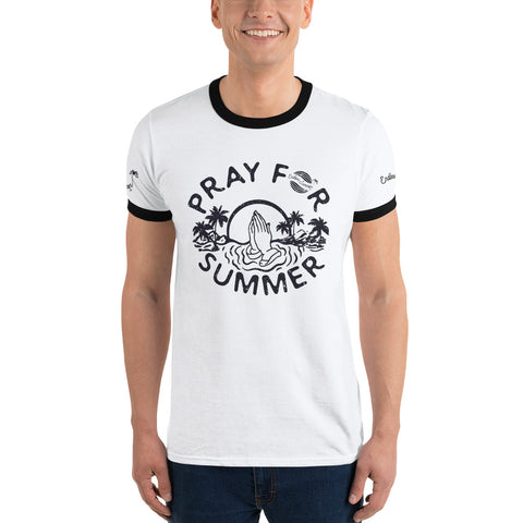 Endless Summer Inc. Pray For Summer Classic Throwback Vintage Ringer T-Shirt - Sunset Palm Tree Funny Graphic Tee White/Black / S - think-endless-summer-inc