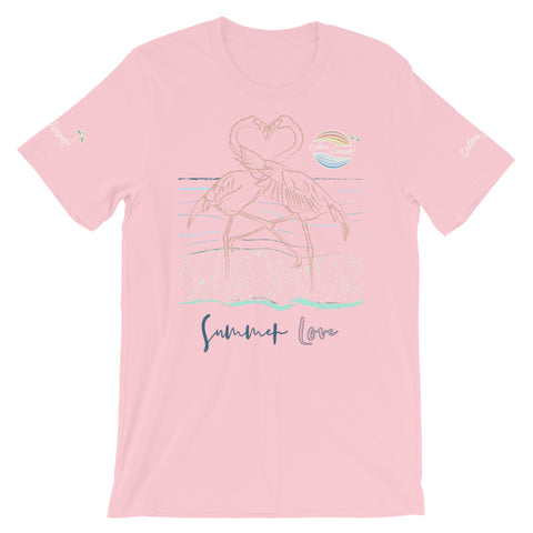 ENDLESS SUMMER Inc Summer Love Flamingo Heart Graphic T-Shirt - Short-Sleeve Adult Unisex Pink / S - think-endless-summer-inc