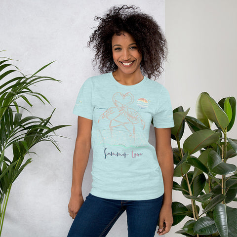 ENDLESS SUMMER Inc Summer Love Flamingo Heart Graphic T-Shirt - Short-Sleeve Adult Unisex Heather Prism Ice Blue / XS - think-endless-summer-inc