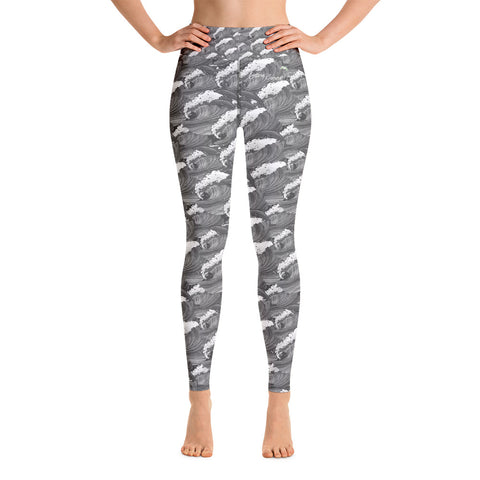 "Image of The Greatest Waves ""Think"" Series High Performance Yoga Leggings - la-pool-guys"