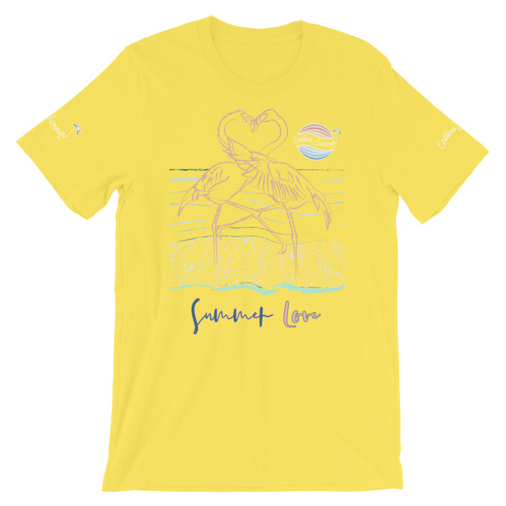 ENDLESS SUMMER Inc Summer Love Flamingo Heart Graphic T-Shirt - Short-Sleeve Adult Unisex - la-pool-guys