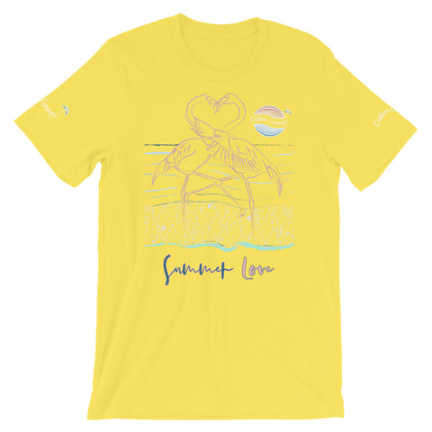 Image of ENDLESS SUMMER Inc Summer Love Flamingo Heart Graphic T-Shirt - Short-Sleeve Adult Unisex Yellow / S - think-endless-summer-inc