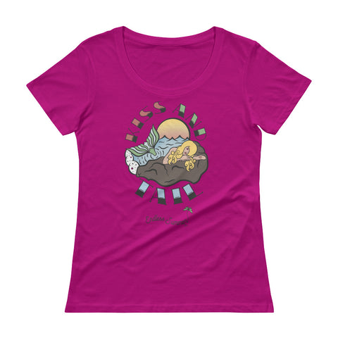 Endless Summer Kiss And Tail Series - Blonde Mermaid - Diversity Series #3 of 4 Summer Fashion Ladies' Scoopneck T-Shirt Raspberry / XS - think-endless-summer-inc