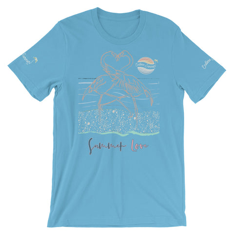 Image of ENDLESS SUMMER Inc Summer Love Flamingo Heart Graphic T-Shirt - Short-Sleeve Adult Unisex Ocean Blue / S - think-endless-summer-inc