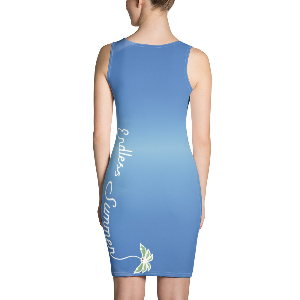 Endless Blue Sky Summer Dress - Body Contour Back Logo Designer Hand Sewn Fitted Dress - la-pool-guys