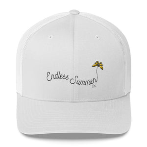 Endless Summer Inc. Ultimate Summer Brand Trucker Cap Limited Edition - So Fresh Yellow Tree Clean White and Pink Distressed Embroidery White - think-endless-summer-inc