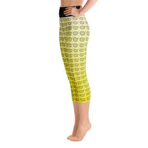 Endless Repeat Designer Original Logo Sunset Yoga Capri Leggings -Yellow Black