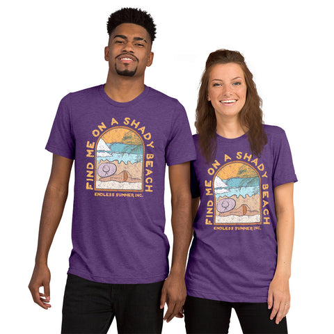 Find Me On a Shady Beach Short sleeve Unisex T-shirt Purple Triblend / XS - think-endless-summer-inc