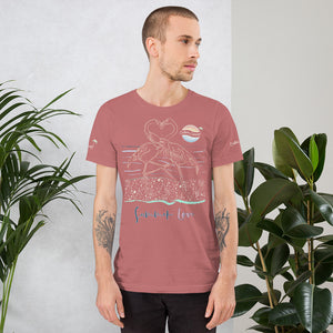 ENDLESS SUMMER Inc Summer Love Flamingo Heart Graphic T-Shirt - Short-Sleeve Adult Unisex