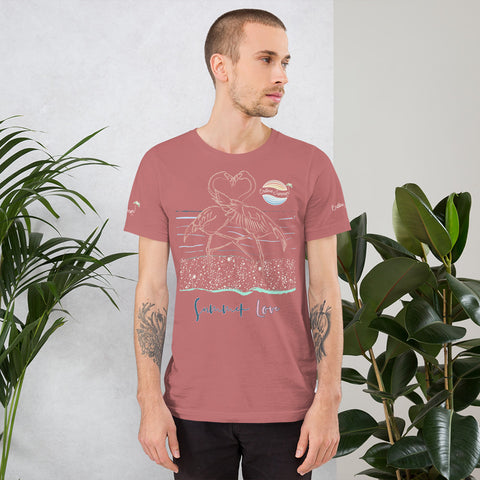 ENDLESS SUMMER Inc Summer Love Flamingo Heart Graphic T-Shirt - Short-Sleeve Adult Unisex Mauve / M - think-endless-summer-inc