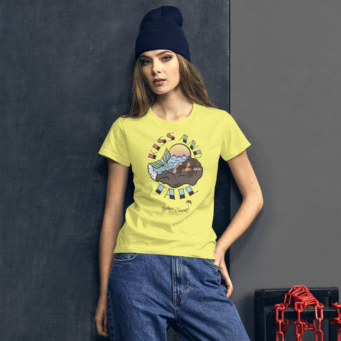 Endless Summer Kiss And Tail -Brunette Mermaid Tee Diversity In Design Series 4 of 4 Women's Premium Tee Spring Yellow / S - think-endless-summer-inc