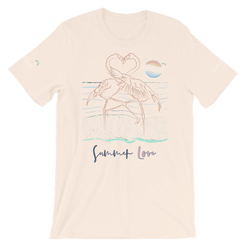 ENDLESS SUMMER Inc Summer Love Flamingo Heart Graphic T-Shirt - Short-Sleeve Adult Unisex Soft Cream / S - think-endless-summer-inc