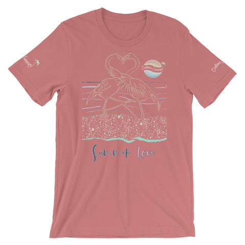 ENDLESS SUMMER Inc Summer Love Flamingo Heart Graphic T-Shirt - Short-Sleeve Adult Unisex Mauve / S - think-endless-summer-inc