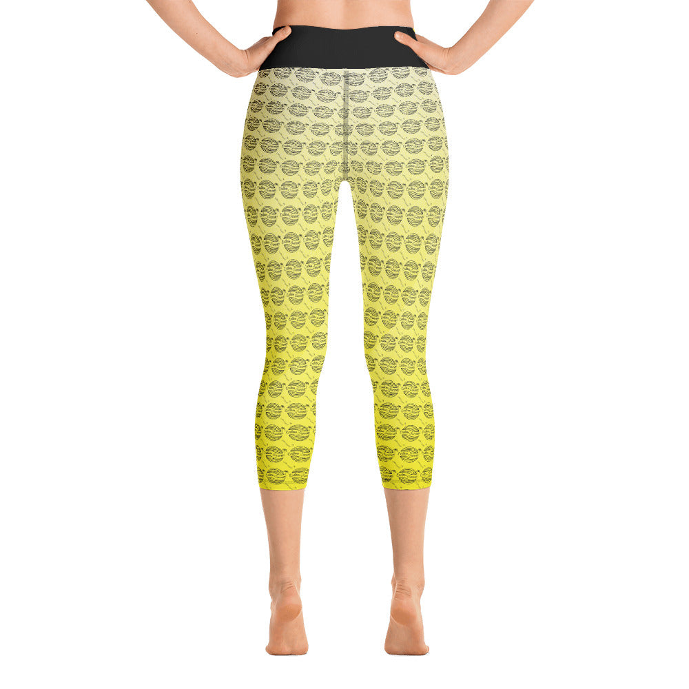 Endless Repeat Designer Original Logo Sunset Yoga Capri Leggings -Yellow Black [variant_title] - think-endless-summer-inc