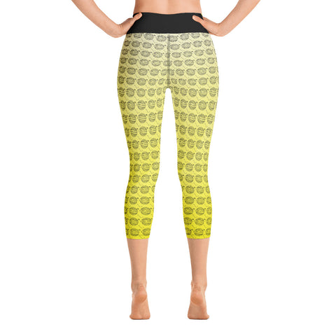 Image of Endless Repeat Designer Original Logo Sunset Yoga Capri Leggings -Yellow Black - la-pool-guys