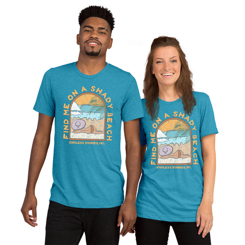 Find Me On a Shady Beach Short sleeve Unisex T-shirt Aqua Triblend / XS - think-endless-summer-inc
