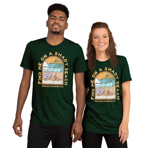 Find Me On a Shady Beach Short sleeve Unisex T-shirt Emerald Triblend / XS - think-endless-summer-inc