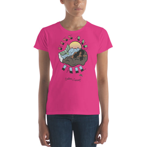 Kiss And Tail Black Mermaid Summer Tee Shirt  - Diversity In Design Series 1 of 4 - Women's short sleeve t-shirt Hot Pink / S - think-endless-summer-inc