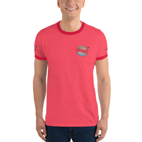Endless Summer Original Logo Classic Ringer T-Shirt Semi Fitted 1950's 60s Throwback Vintage Design Heather Red/Red / S - think-endless-summer-inc
