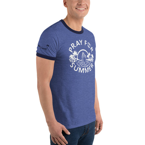 Image of Endless Summer Inc. Pray For Summer Classic Throwback Vintage Ringer T-Shirt - Sunset Palm Tree Funny Graphic Tee - la-pool-guys