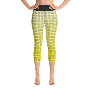 Endless Repeat Designer Original Logo Sunset Yoga Capri Leggings -Yellow Black - la-pool-guys