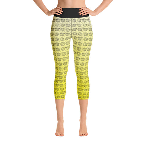 Image of Endless Repeat Designer Original Logo Sunset Yoga Capri Leggings -Yellow Black XS - think-endless-summer-inc