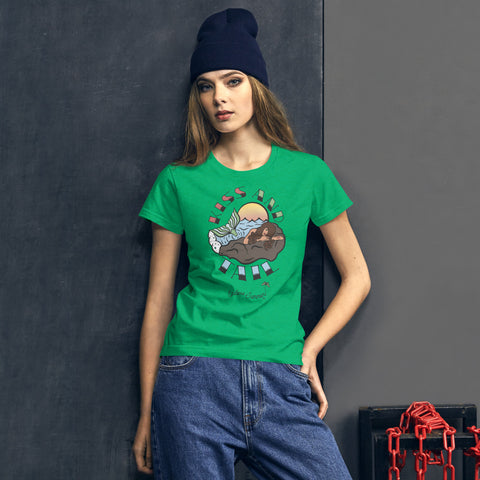 Endless Summer Kiss And Tail -Brunette Mermaid Tee Diversity In Design Series 4 of 4 Women's Premium Tee Heather Green / S - think-endless-summer-inc