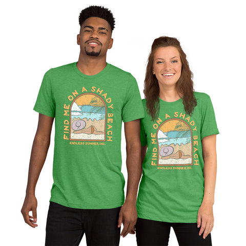 Find Me On a Shady Beach Short sleeve Unisex T-shirt Green Triblend / XS - think-endless-summer-inc
