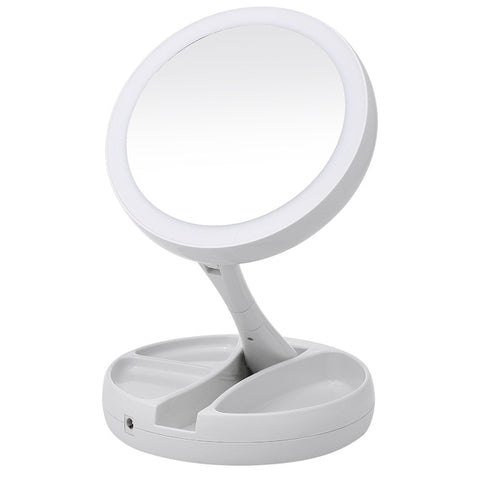 Portable LED Lighted Makeup Mirror Vanity Compact Make Up Pocket mirrors Vanity Cosmetic hand Mirror 10X Magnifying Glasses New Makeup Mirror - think-endless-summer-inc