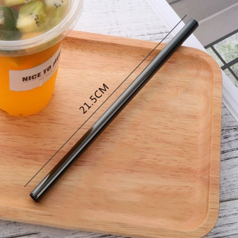 Endless Summer ONE STRAW Eco Friendly Portable, Reusable Stainless Steel Drinking Straw with Hard Case and Cleaner For Camping, Picnics, Travel A4 diameter 8MM - think-endless-summer-inc