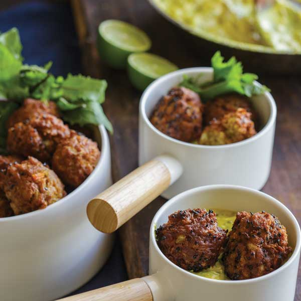 Cauliflower & Cabbage Koftas with Apple & Date Curry Sauce