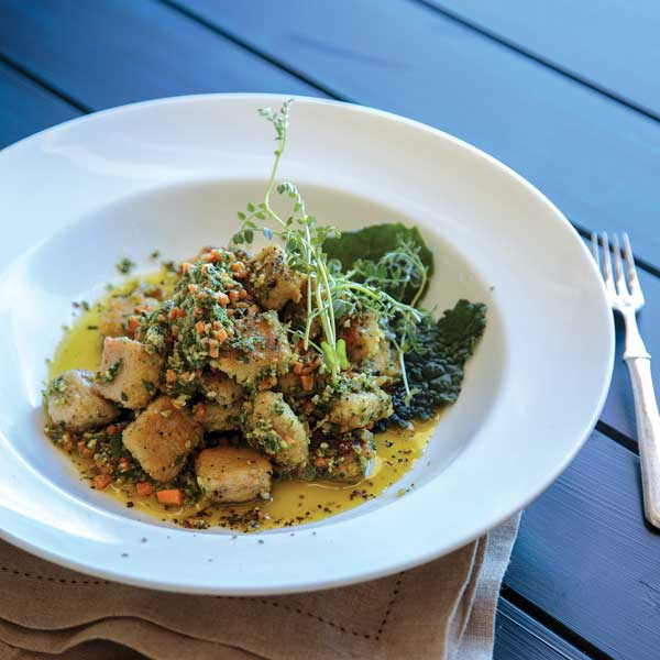 Millet Gnocchi with Carrot, Kale & Walnut Pesto