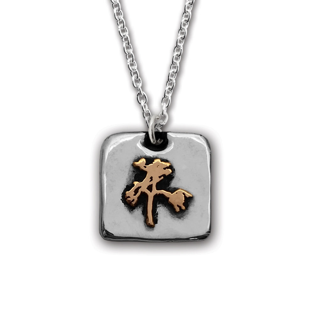 The Joshua Tree Square Silver/Bronze Pendant on Chain