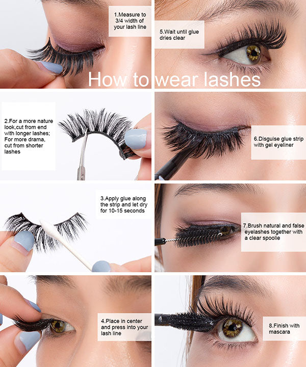 3D Mink Hair False Eyelashes Natural/Thick Long Eyelashes Wispy (5Pairs)