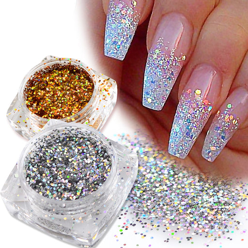 1 Bottle Mini Hexagon Shape Laser Shining Nail Art Glitter DIY Nail  glitters - JJslove.com