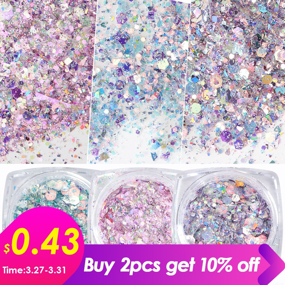 1 Box Nail Mermaid Glitter Flakes Sparkly 3D Hexagon Colorful Sequins Spangles Polish Manicure Nails Art Decorations TRDJ01-12 - JJslove.com