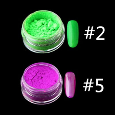 12colors/set Neon Pigment Nail Powder Dust Ombre Nail Glitter - JJslove.com