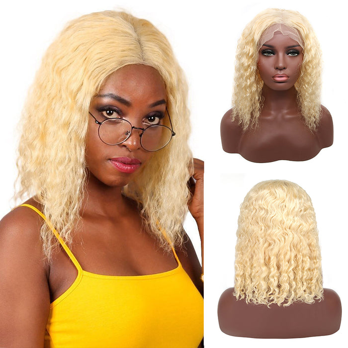 Curly Human Hair Wig Brazilian Deep Wave 613 Blonde Lace Front Wigs - JJslove.com