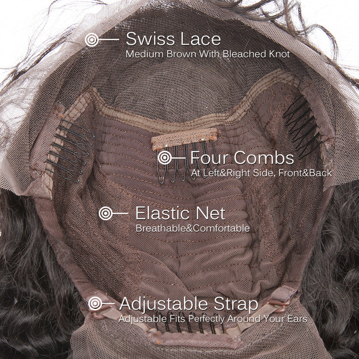 Lace Front Wigs Brazilian Loose Wave Pre Plucked With Baby human Hair Wigs - JJslove.com