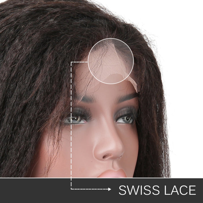 13x6 Lace Front Human Hair Wigs Kinky Straight Brazilian Lace Front Wigs - JJslove.com