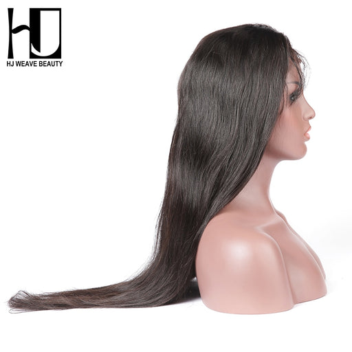Black Women Lace Front Wigs Peruvian Straight Natural Human Hair Wigs - JJslove.com
