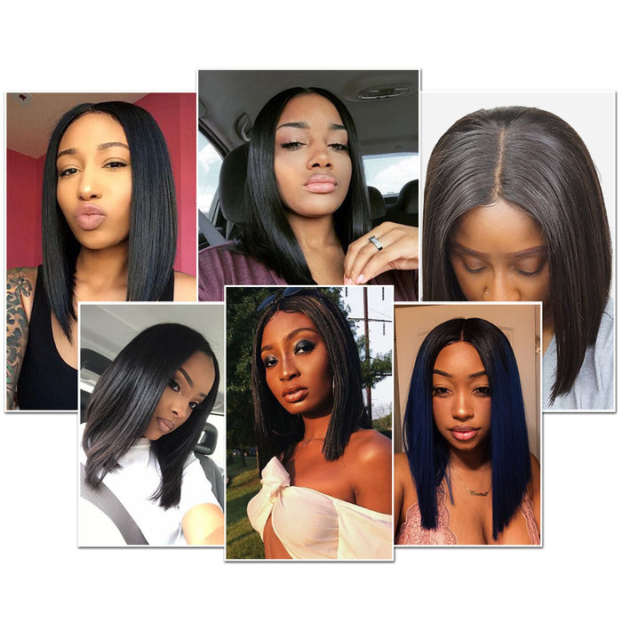 Indian Straight Short Bob Wigs Full End Lace Front Human Hair Wigs - JJslove.com