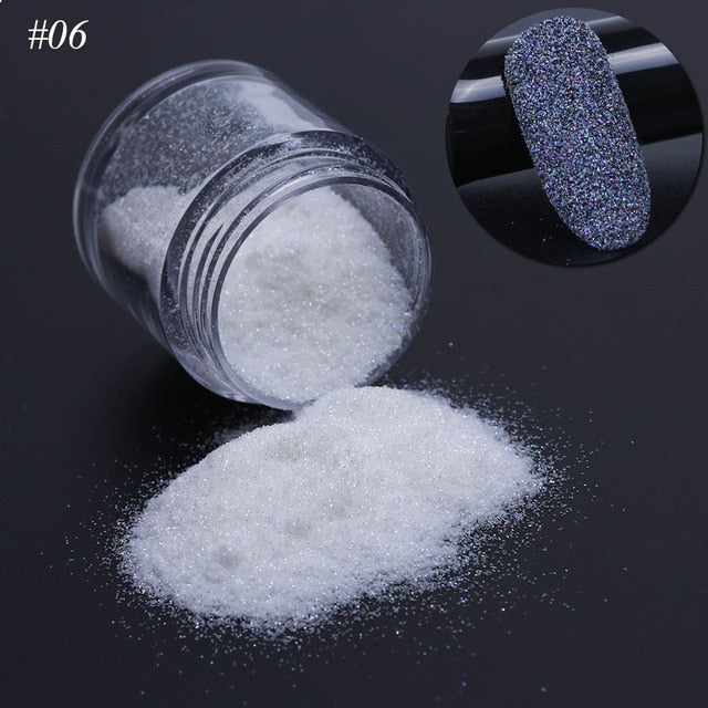 1pcs Holographic Nail Glitter Pigment Powder Shiny Sugar White Black Nail Art Dust Decoration Manicure UV Gel Polish Sequin JIMN - JJslove.com