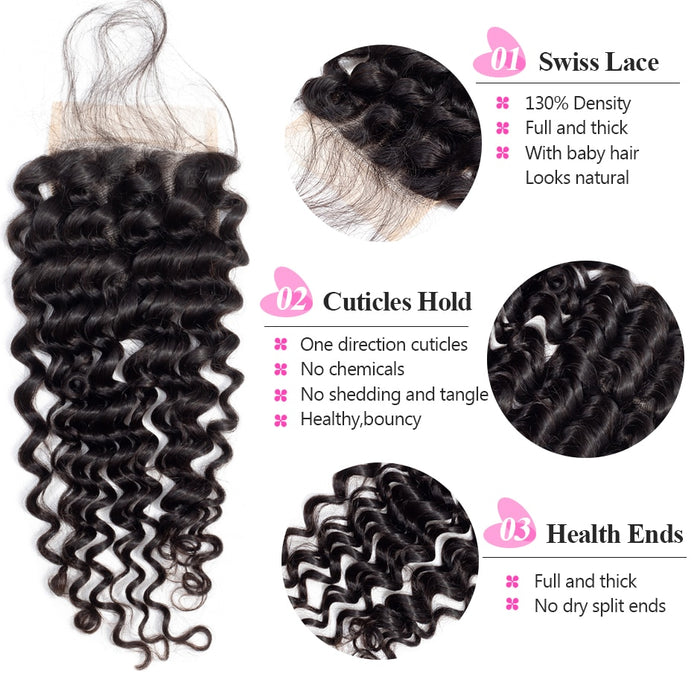 3 Bundles Deep Wave Bundles With Closure - JJslove.com