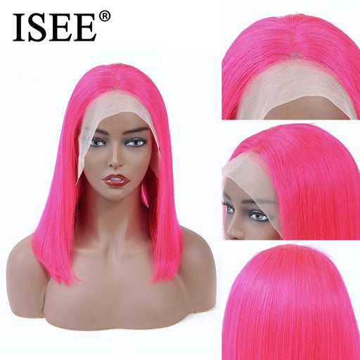 Straight Bob Wig Pink / Blue 13X4 Short Lace Front Human Hair Wigs - JJslove.com