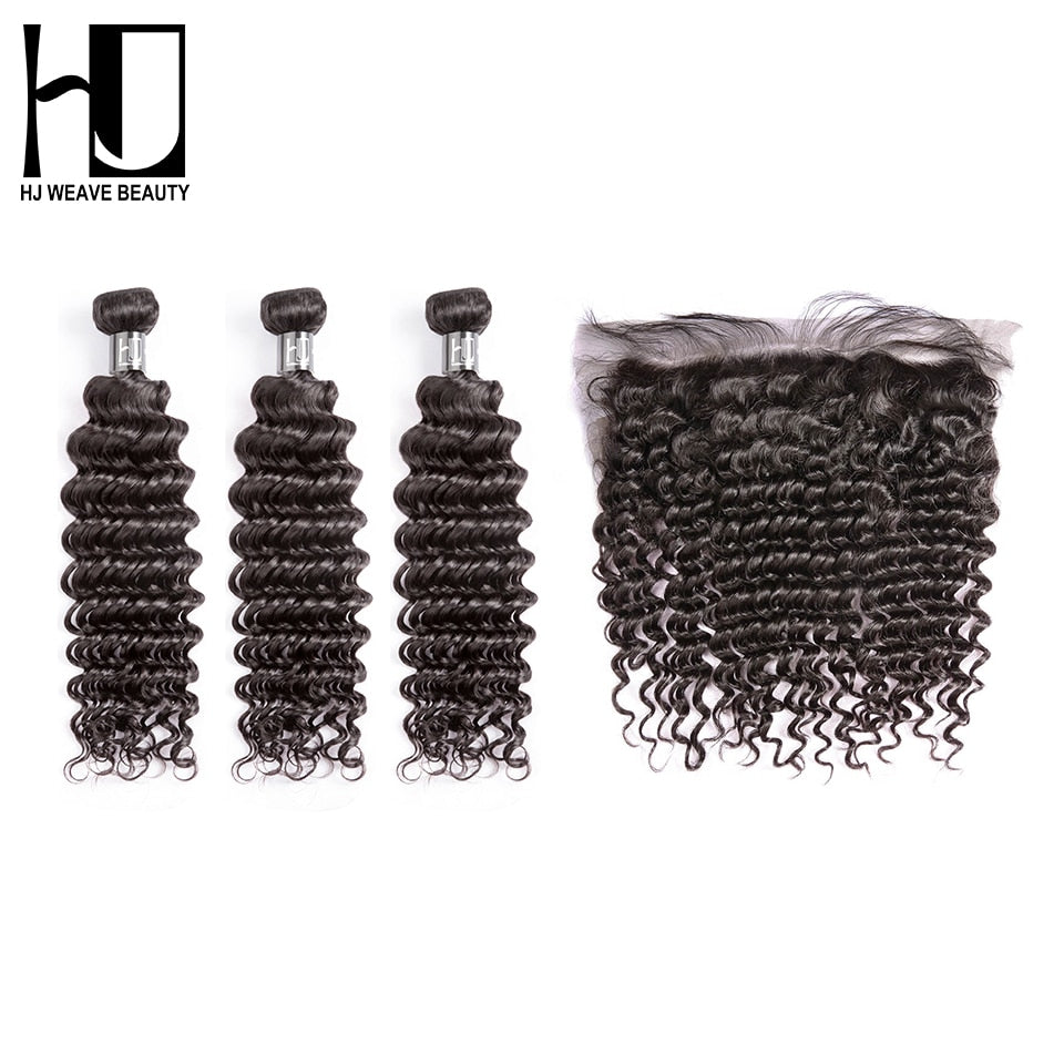 7A  Peruvian Human Hair Bundles With Frontal Deep Wave Hair Wigs - JJslove.com